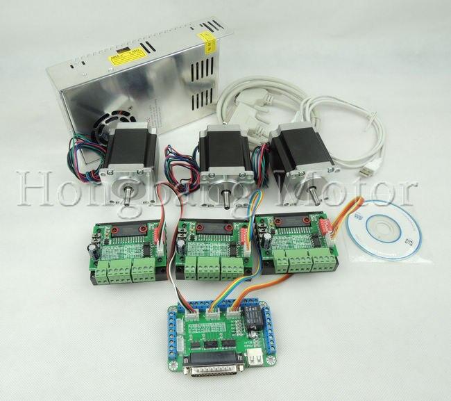 CNC Routeur Kit 3 Axes, 3 pièces TB6560 1 axe pilote de moteur pas à pas + une carte de dérivation + 3 pièces Nema23 270 oz-in moteur + une alimentation d'énergie
