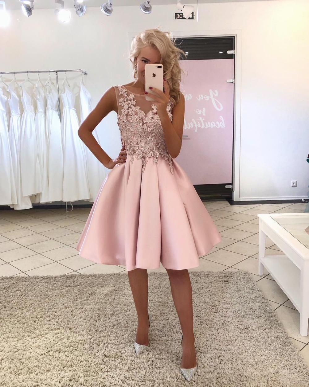 Cocktail     Dresses   Pink Plus Size Short Evening Prom   Dress   2019