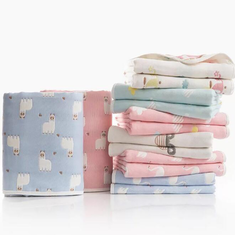 Newborn Baby Blanket Cotton Baby Sleeping Swaddle Child Bath Towel Swaddle Blanket Printing Gauze Spring Summer YMH011