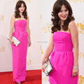 Simple Sheath Strapless Backless Corset Cheap Zooey Deschanel Celebrity Dresses 2014 66th Emmy Awards
