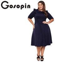 Gosopin Plus Size Elegant Office Ladies Work Dresses Summer Ruffle Half Sleeve Fashion Sexy Skater Club