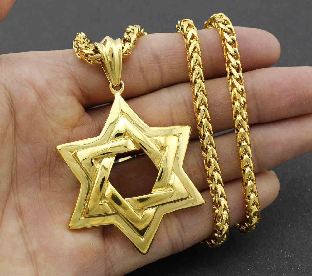 Golden Men Biker Stainless Steel Jewish STAR OF DAVID Pendant