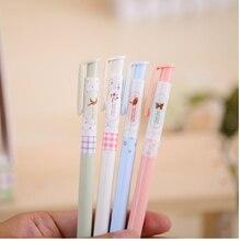 4 قطعة Kawaii الملونة الصحافة نوع الربيع أقلام بالبن Ballpoit الأقلام اللوازم المدرسية boligrafos الكورية القرطاسية ABP40905
