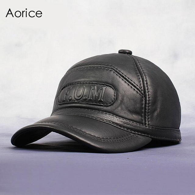 Aorice Genuine Leather Baseball Cap Mens Hats And Caps Summer Solid Color  Brown Black Leather Cap 46421bf26ac