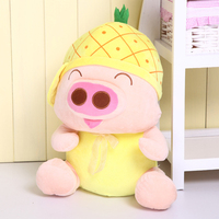 17 inch pig plush toy McDull pig pineapple hat style pig doll throw pillow w3861