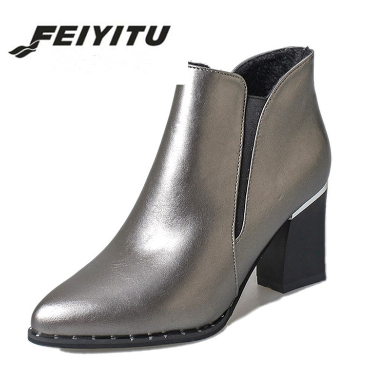 feiyitu Woman Ankle Boots High heels Women Shoes Poined Toe Silver Heeled Pumps 2016 Winter Shoes Ladies Booties botas mujer aiweiyi square high heeled shoes woman round toe buckle design autumn winter women ankle boots botas shoes women pumps shoes