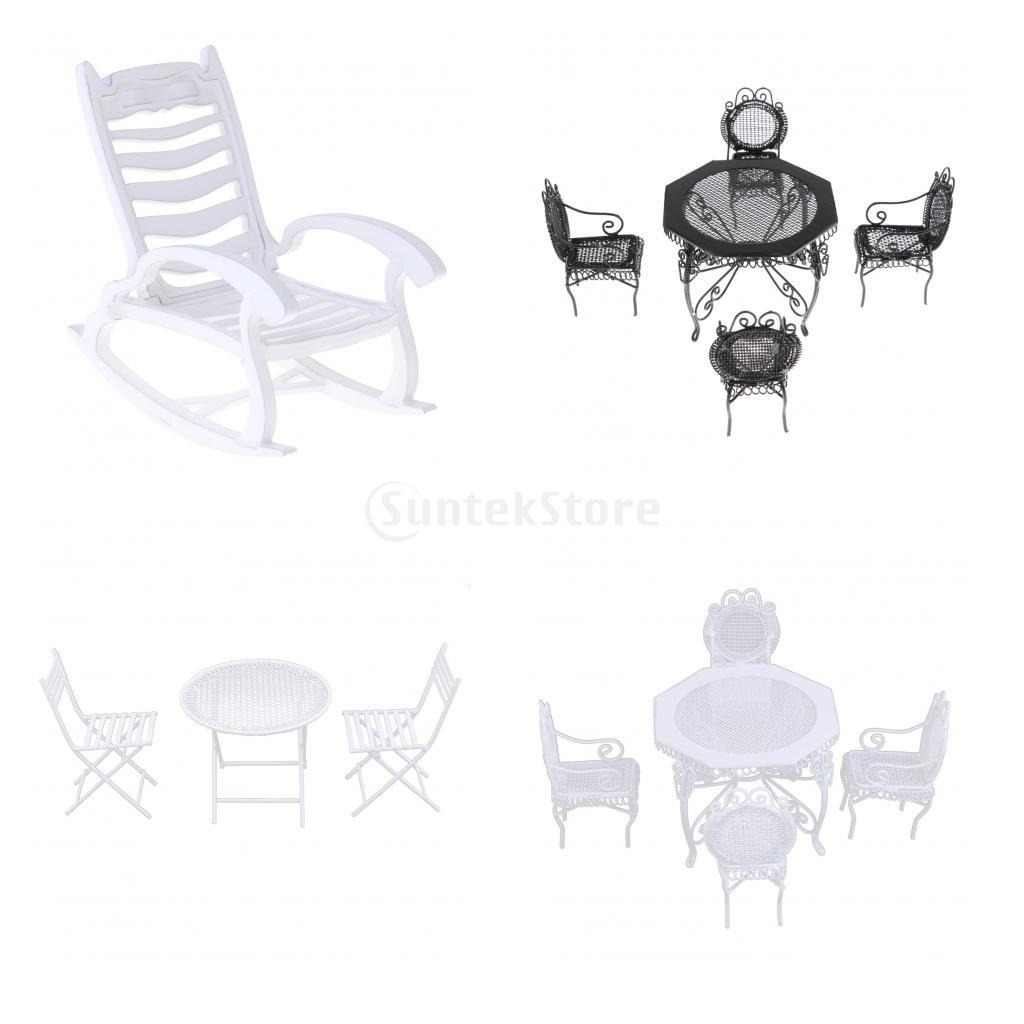 New 1/12 Dollhouse Miniature Furniture White Rocking Chair Octagonal Table Model Pretend Play Classic Toys for Kids Children