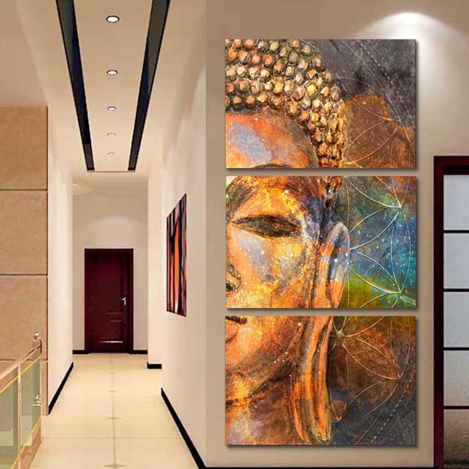 Quadro modular quadro de pintura em tela moda arte 3 painel buda dourado arte da parede cartaz moderno sala estar decorativo