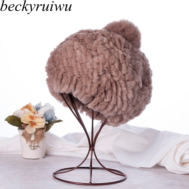 Top Quality Rex Rabbit fur ball cap pom poms winter hat for women girl 's hat knitted beanies cap brand new thick female ski cap 4pcs new for ball uff bes m18mg noc80b s04g