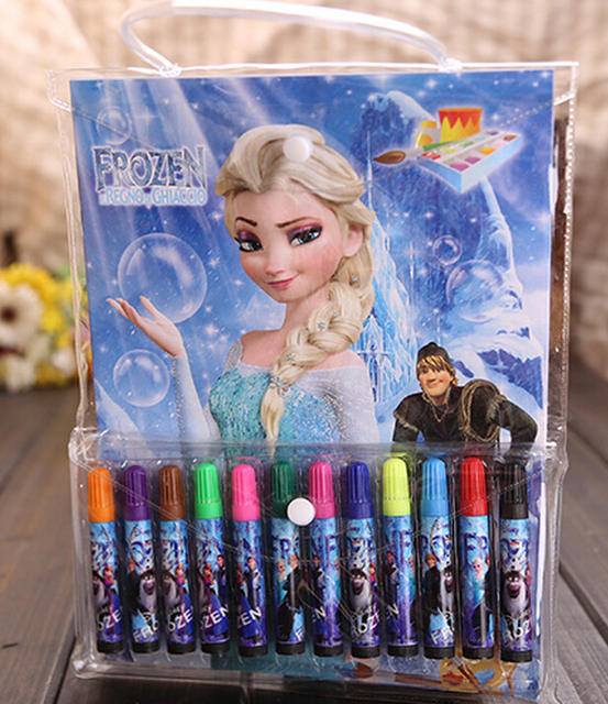 New Retail 1set 12colors Set Pen Kids Frozen Coloring Notebook School Supplies