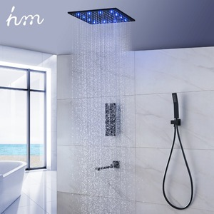 Image 2 - Luxury Thermostat 16 inch Shower System LCD Touch Screen Digital Display Black Large Shower Set 180 Degree Rotating Lower Faucet