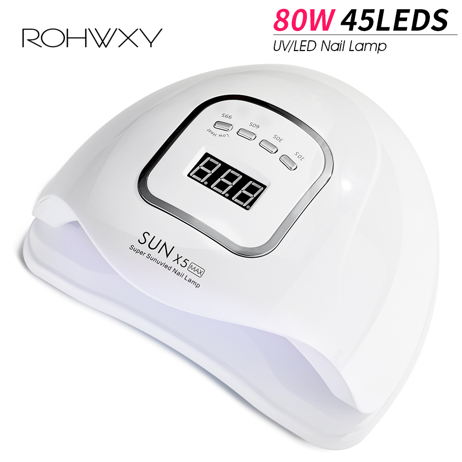 ROHWXY UV LED Nail Lamp Manicure 80W Nail Dryer For All Nail Gel Polish Ice Lamp With LCD Display For Professional Nail Art Tool-in Nail Dryers from Beauty & Health