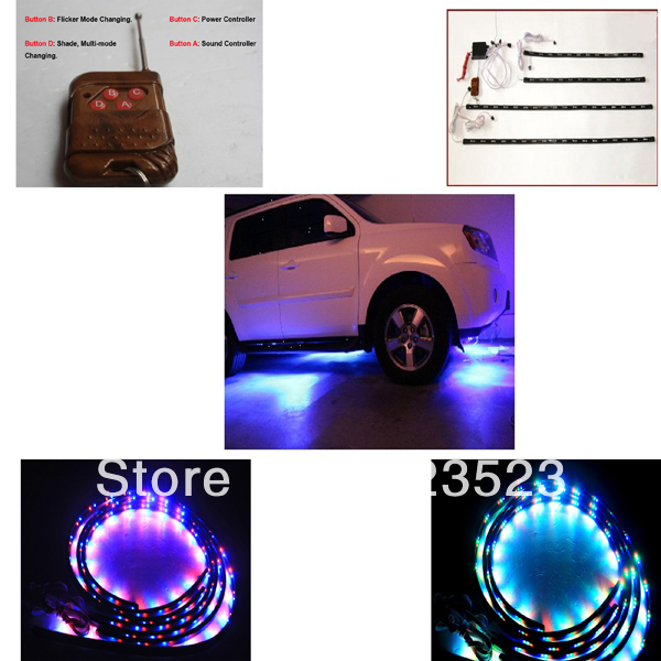 """Free Ship 7 Color Car Truck SUV Neon  LED Lights Kit 48"""" x 2 & 36"""" x 2 for Grille/Grid/Cab/Underpan w/ Wireless Keychain RC 12V"""