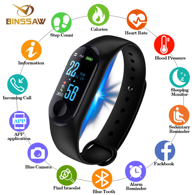 BINSSAW Men Women Sport Smart Bracelet Watch Bluetooth Clock Remote Camera Heart Rate Blood PressureSleep Monitor Pedometer Band