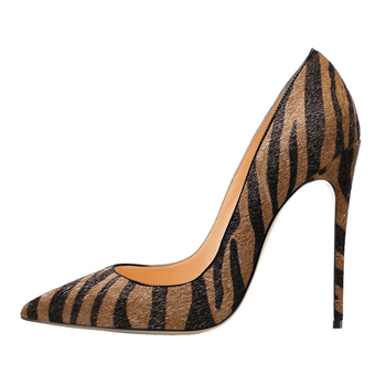 2020 Hot Sale Pumps Fashion Zebra Pattern Thin Heel High Quality Pointed Toe Shoes New Elegant Womens  D011B