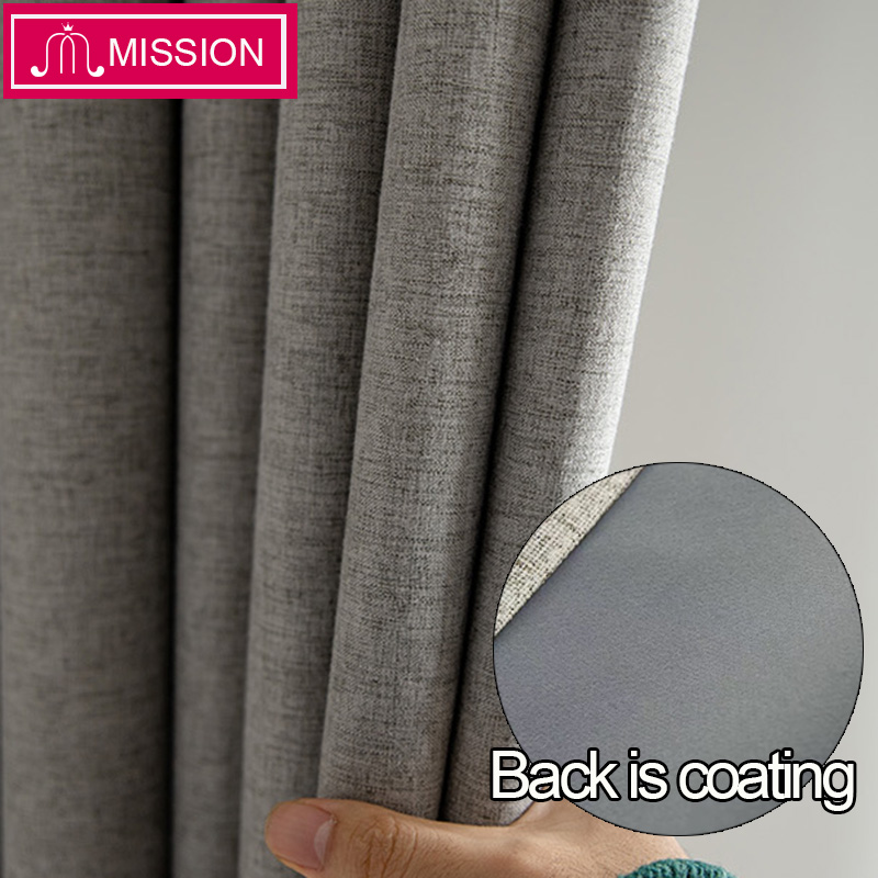 MISSION Faux Linen Foam Back Blackout Curtain Thermal Insulated Soundproof Blinds Drapes for Bedroom Living Room Custom Made(China)
