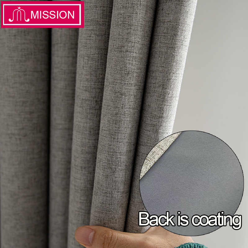 MISSION Faux Linen Foam Back Blackout Curtain Thermal Insulated Soundproof Blinds Drapes for Bedroom Living Room Custom Made
