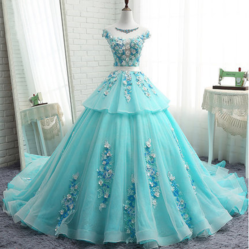 It s YiiYa Hot Wedding dresses Green Illusion Sleeveless Court Train Floor  Length Crystal Appliques Quality Wedding Frock L003-in Wedding Dresses from  ... 6f56d7bbf70b
