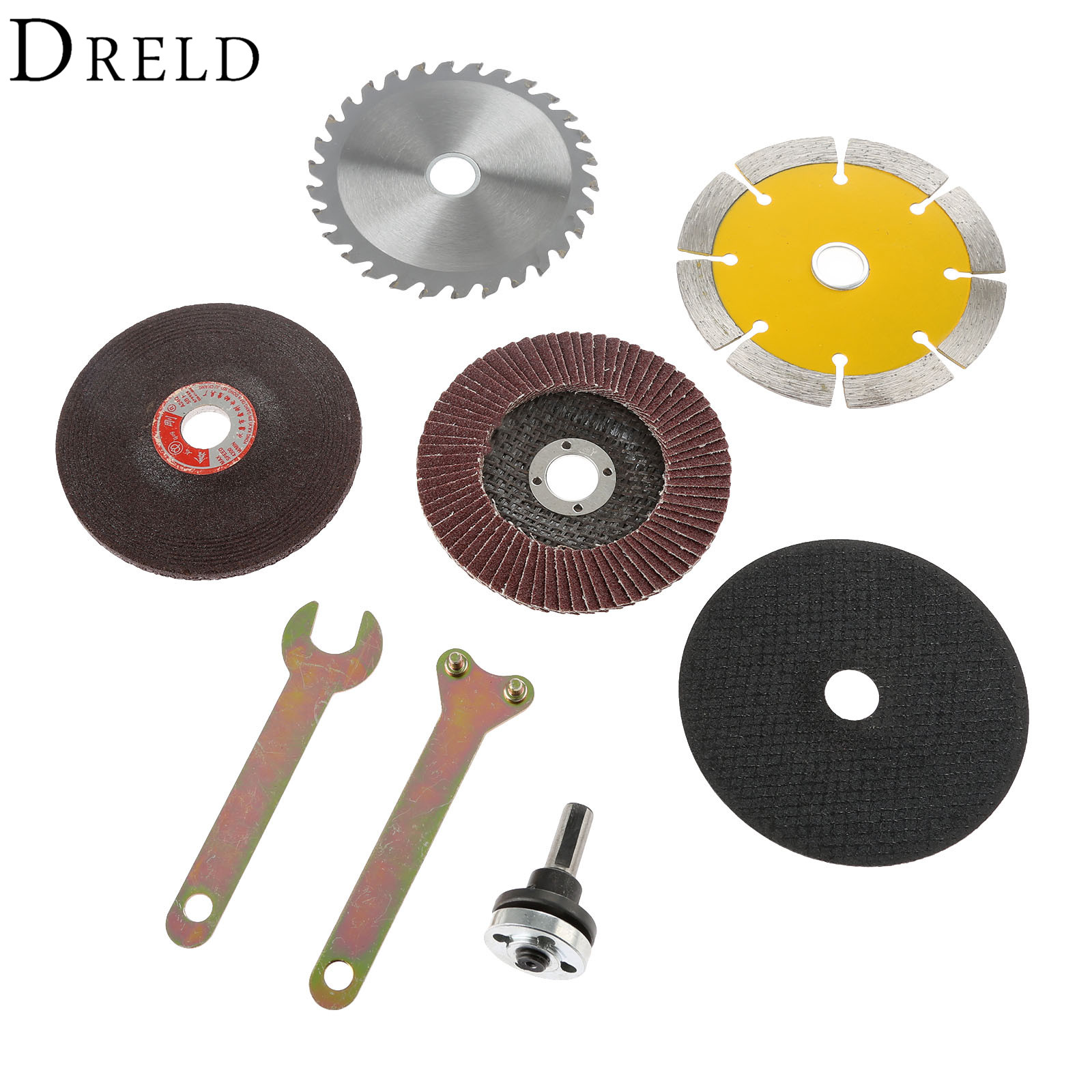8Pcs Cutting Polishing Grinding Wheel Conversion Shank Power Tools Accessories for Electric Drill Change to Angle Grinder Cutter hoomall electric drill cutting seat stand machine bracket tools set fit for angle grinder accessories polishing cutting 10 13mm