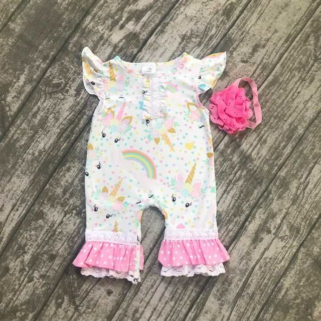 ddbdf7cf4ca6 baby kids summer outfits infant toddler baby kids unicorn romper toddler  girls rainbow with unicorn bubble romper clothing