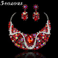 Free Shipping Trendy  White Gold Plated Gorgeous Red Crystal Fashion Choker Necklace/Earrings Jewelry Sets For Women Gift