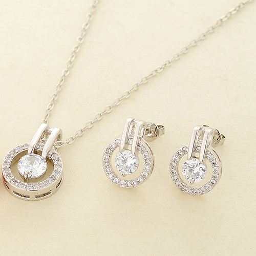 New Arrival Women's Zircon Round Pendent Choker Chain Necklace Earrings Wedding Jewelry Set Fashion Leader' Choice 8