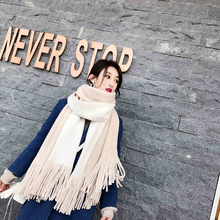 New arrival fashion temperament ladies high quality knit comfortable warm thick long scarf women tassel big outdoor sweet shawl