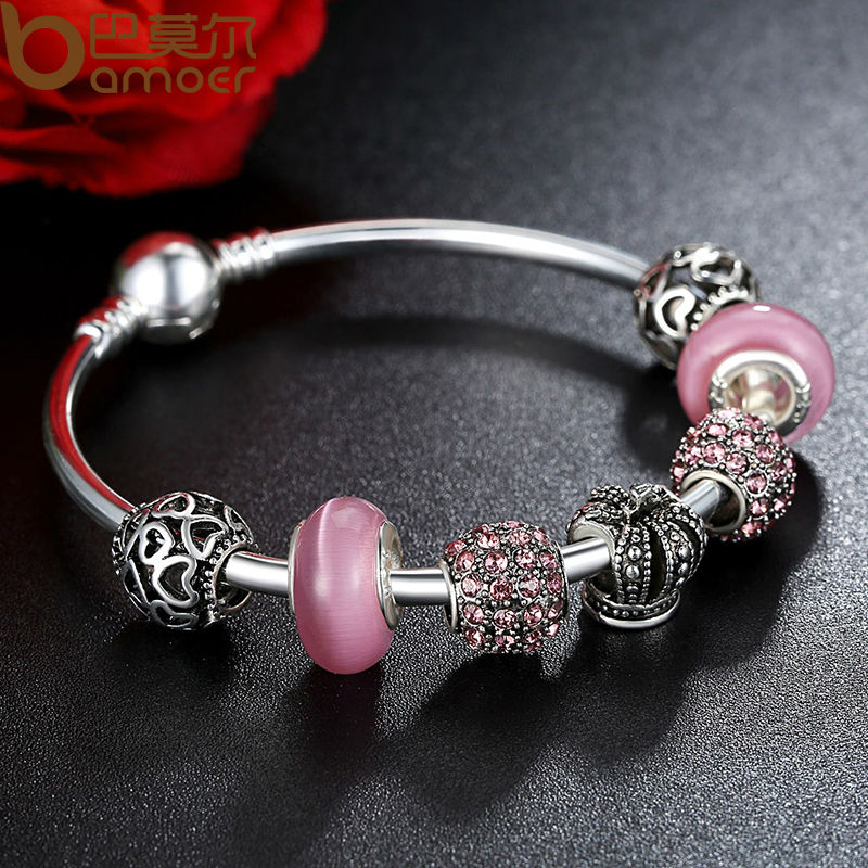 0f8237190 ... new zealand bamoer silver charm bracelet bangle with open your heart  crown pink murano glass beads