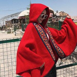 Image 2 - Mingjiebihuo plus ขนาดผู้หญิงถักคุณภาพสูงสบาย warm หนาผ้าพันคอผู้หญิงพู่คนดังสไตล์ poncho