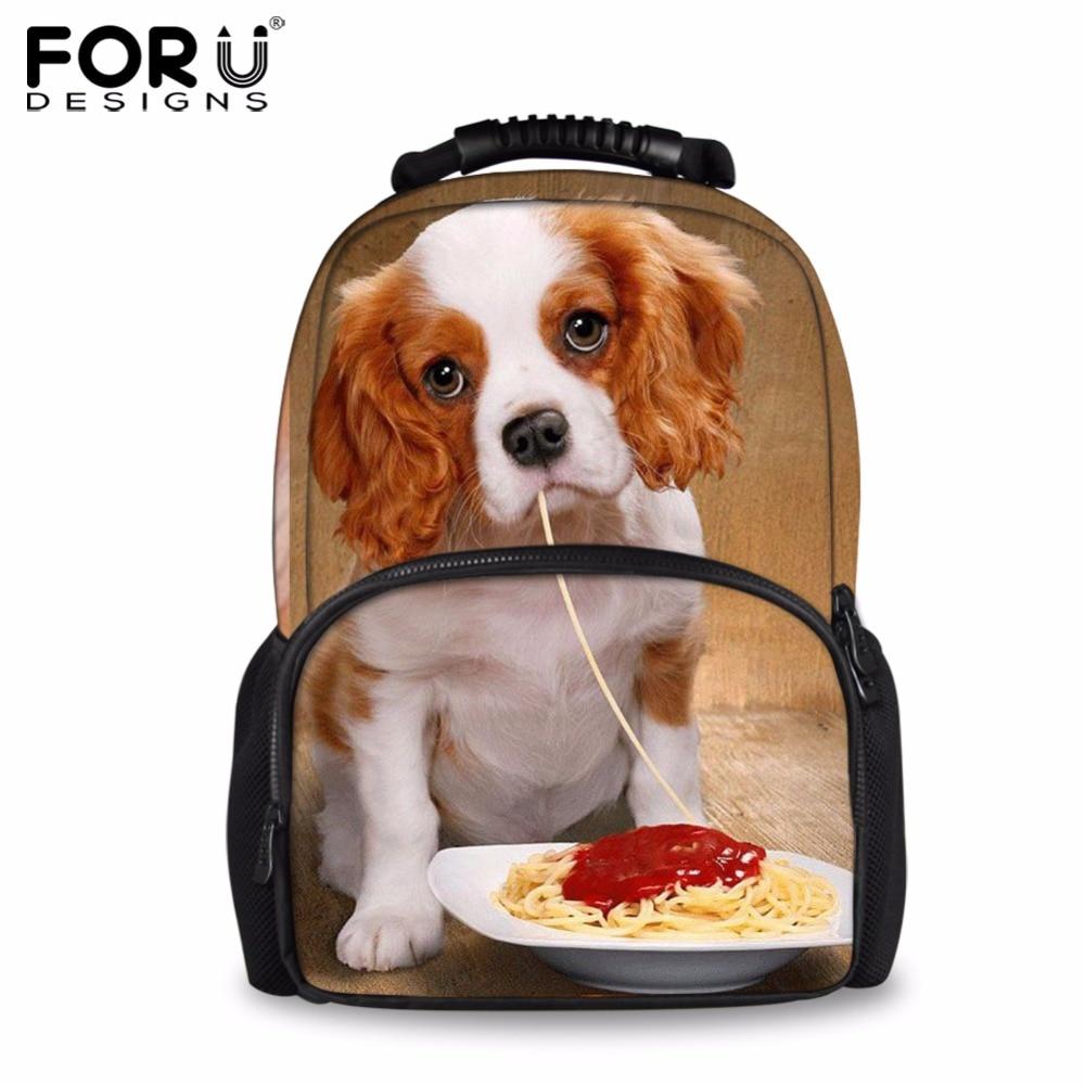 FORUDESIGNS 2019 Fashion Travel Backpack Cute 3D Charles Dog Women Shoulder Backpacks Daily Bagpack School Laptop Bags Mochilas