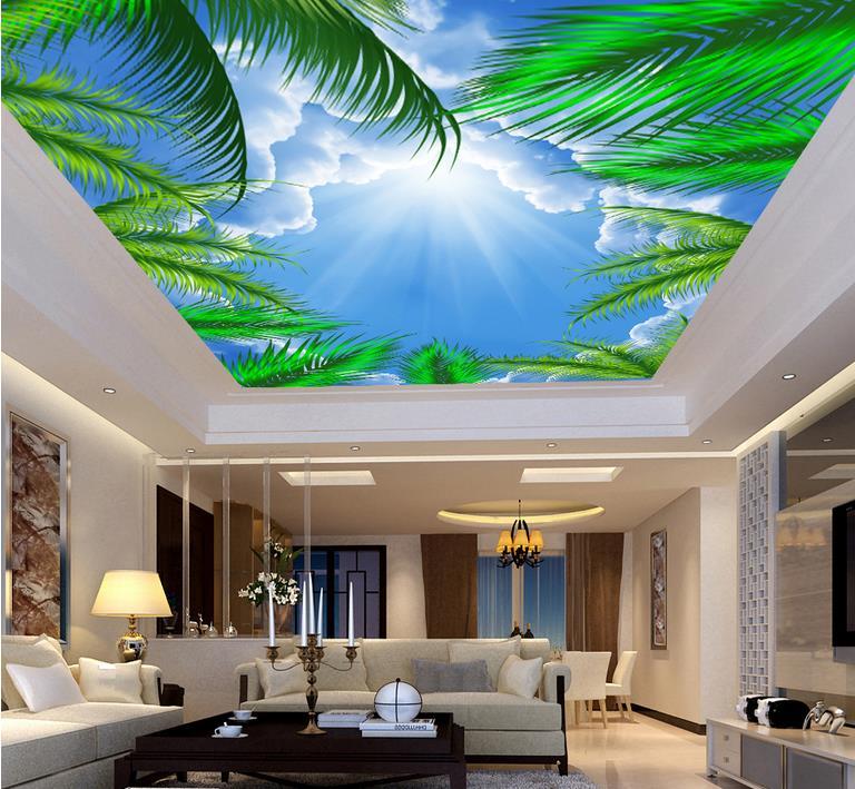 custom 3d ceiling photo HD coconut tree blue sky sunshine 3d stereoscopic sky ceiling 3d wallpaper living room wall murals custom photo wallpaper 3d stereoscopic sky ceiling cloud wallpapers for living room mural 3d wallpaper ceiling