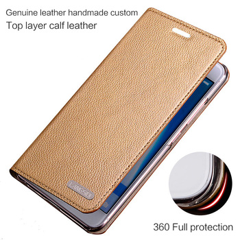 Brand phone case for Oneplus 5 Fashion Genuine leather plain weave phone shell handmade custom flip protective cover