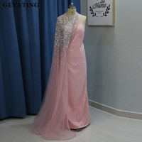 Luxury Beaded Crystal One Shoulder Blush Pink Evening Dress With Cape Sheath Long Arabic Yousef Women