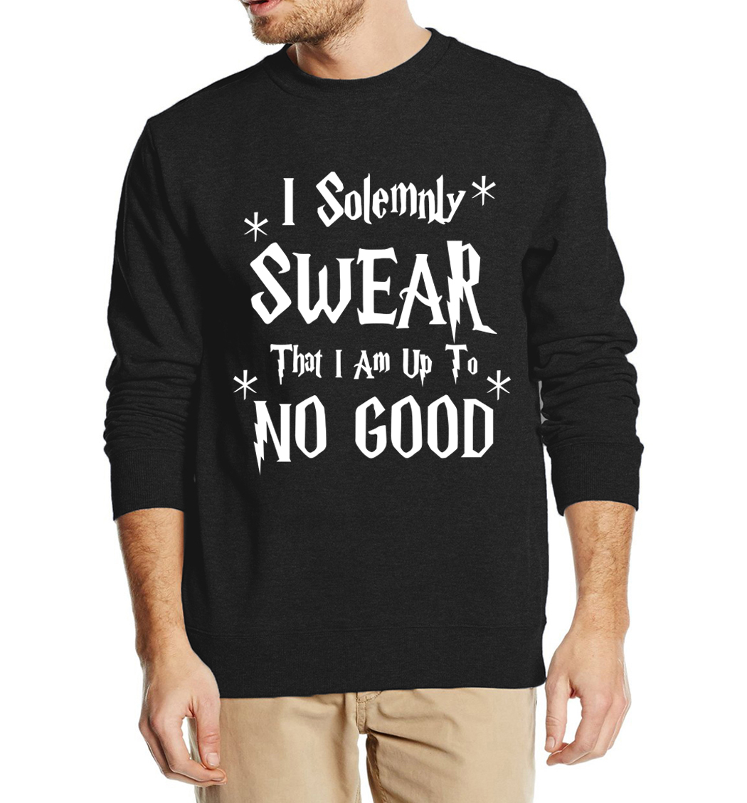 funny men sweatshirts hoodies I Solemnly Swear That I Am Up To No Good print 2016 autumn winter fashion fleece slim man hooded