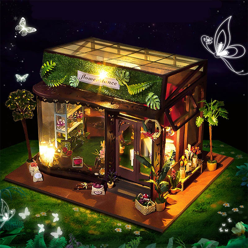 Mising New DIY 3D House Model Kit Romantic Greenhouse Miniature LED String Light for In-Outdoor Decoration Dolls House kid Gift