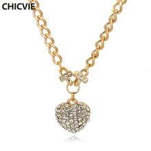 Chicvie ожерелье золотого цвета с хрустальным сердцем для женщин