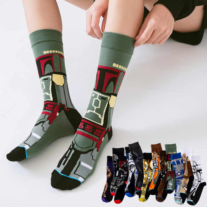 2018 Fashion Star Wars Stockings Adult Men Women Jedi Knight Master Yoda Wookiee Cosplay Cotton Autumn Winter Funny Long Socks