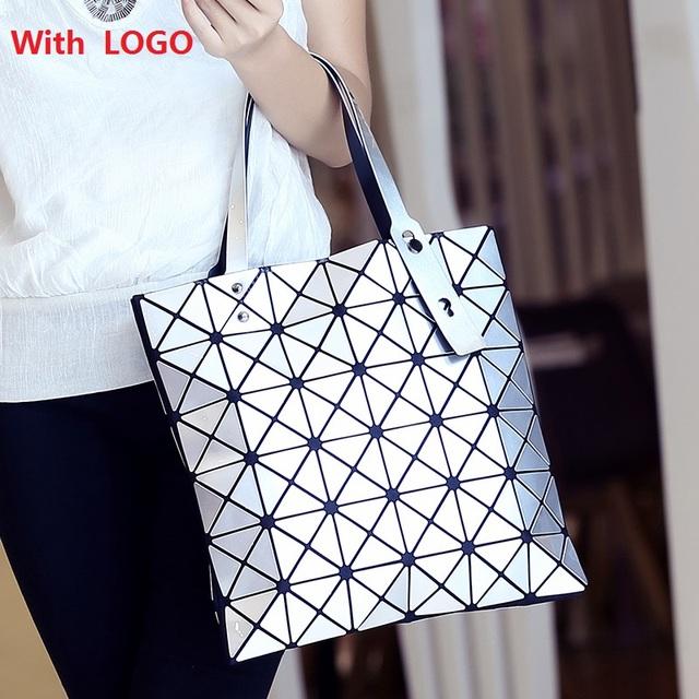 Moda Bolsos Bao Bao Issey Miyak Láser Geométrico Del Diamante de gel de Sílice Forma Astilla Pintura Patchwork Totalizador Bolso la Mujer