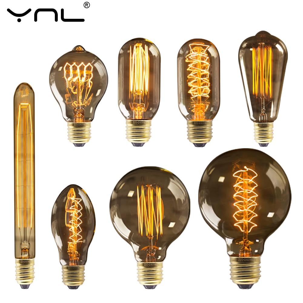 Retro Edison Bulb E27 220V 40W Dimmable ST64 A19 T45 G80 G95 Vintage Ampoule Lamp Edison bulb Incandescent filament Light bulb edison bulb e27 incandescent retro lamp 40w 220v st64 a19 t45 t10 g80 g95 antique vintage bulb edison lamp filament light bulb
