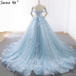 Image 2 - Blue Off Shoulder Handmade Flowers Wedding Dresses 2020 Sexy Sleeveless Crystal High end Bridal Gowns Real Photo 66706