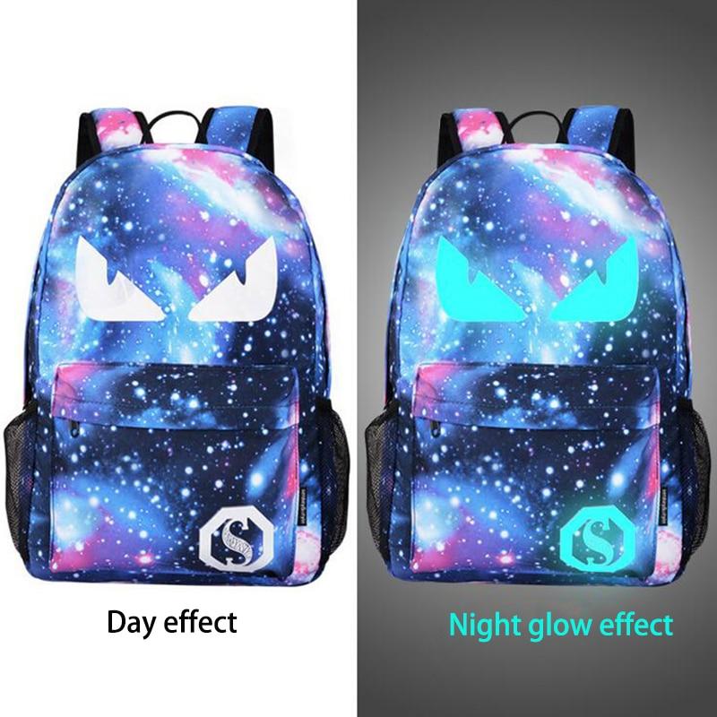 Senkey Style Men Backpack Student Anime Luminous USB Charge Laptop Computer School  Bag For Teenager Anti-theft Backpack Women