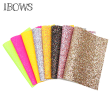 IBOWS 22*30cm Faux Synthetic Leather Bow Fabric Neon Colors Chunky Glitter Party Wedding Decoration DIY Hairbows Bags Materials