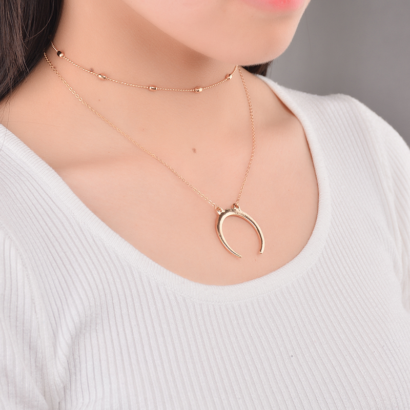 Boho Vintage Gold Silver Color Moon Shape Pendant Chain Necklace Set for Women and Girls Choker