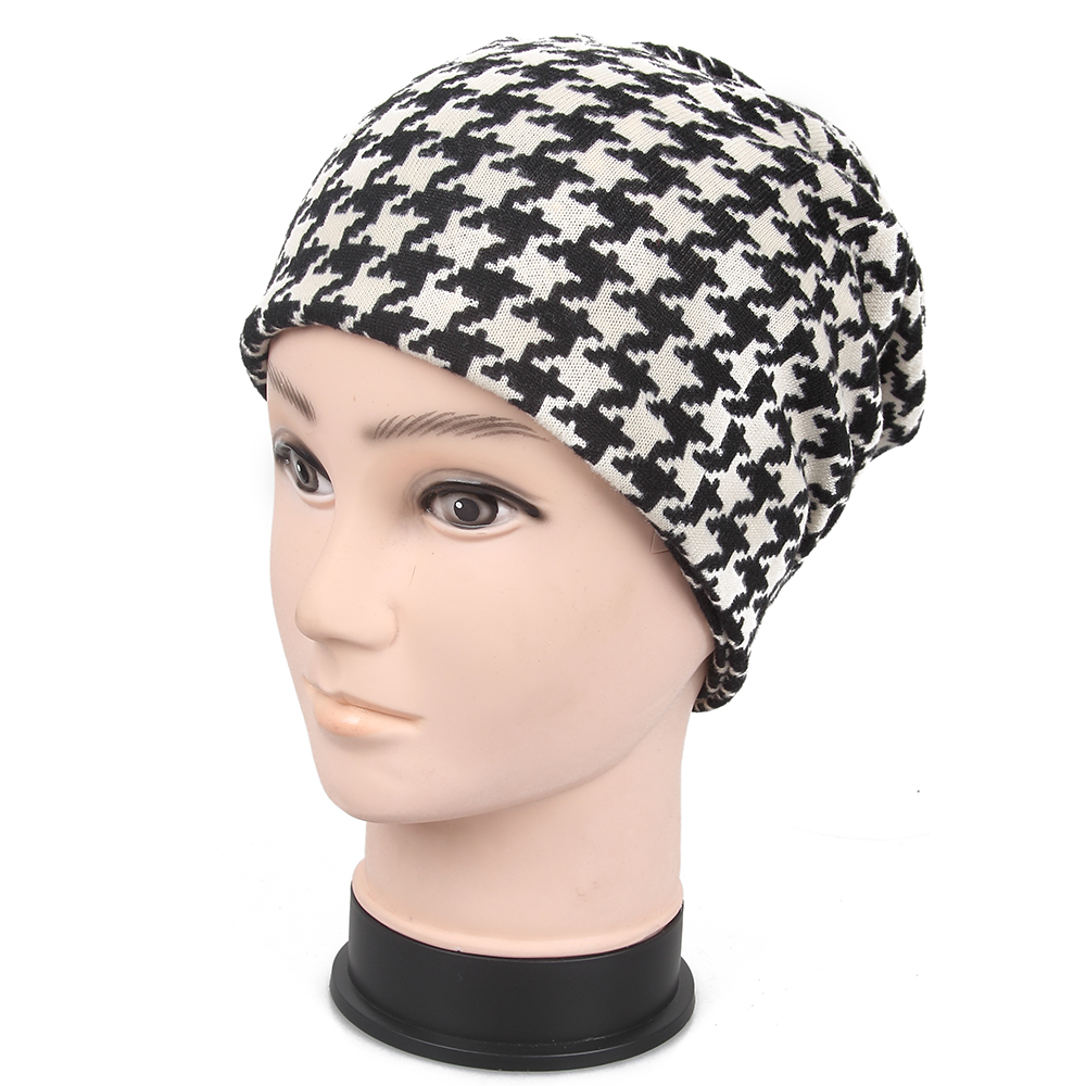 Free Shipping 2017 New Black White Red Houndstooth Beanies Hats For Mens Womens