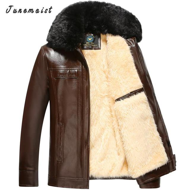 Autumn Winter Brand man Leather Jackets with big fur Men Jaqueta Couro Masculino Bomber men Cashmere Leather Jacket