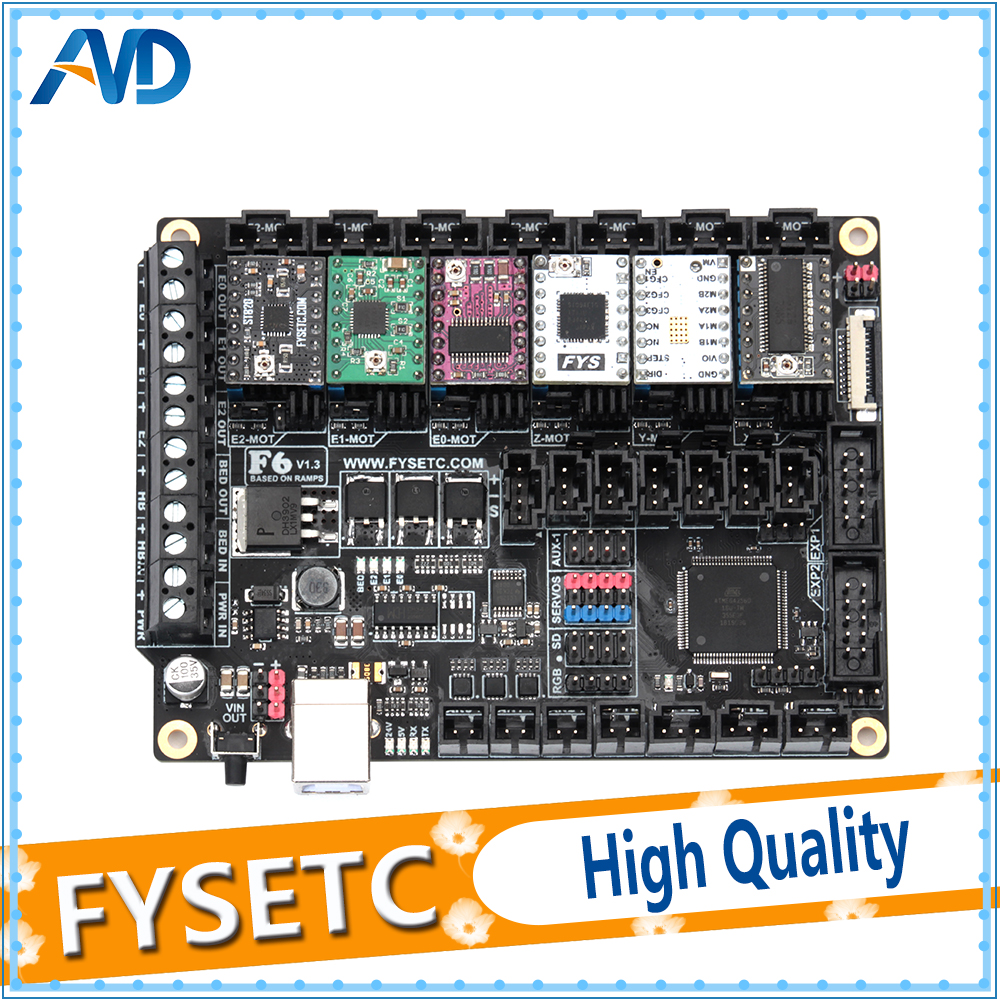 FYSETC F6 V1.3 Bordo ALL-in-one Electronics Soluzione Mainboard + 6 pz TMC2100/TMC2208v1.2/TMC2130v1.2 /DRV8825/S109/A4988/ST820