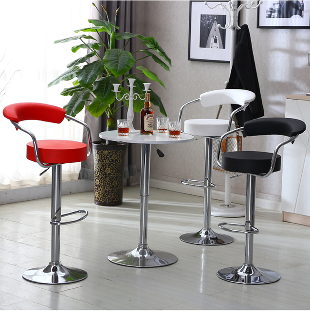 Stylish Bar Chair Lumbar Support White Black Red Color KTV Shop Stool  Retail And Wholesale Free
