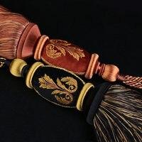 1 пара занавес tieback высокого класса luxury Америке изысканной вышивкой с длинными кисточками веревки пряжки ремень галстук ленты сзади N116