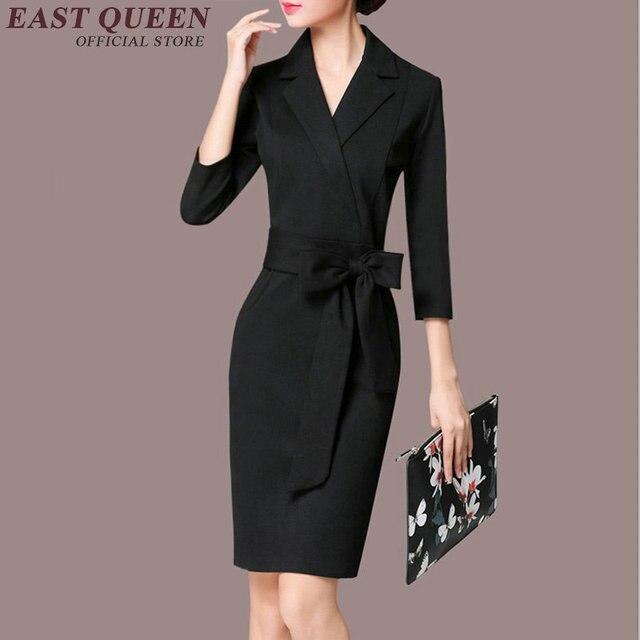 72e4e0c158 Biznes sukienka dla kobiet biuro kobiet panie sukienka społeczna do pracy  biuro jednolite wzory kobiety zima