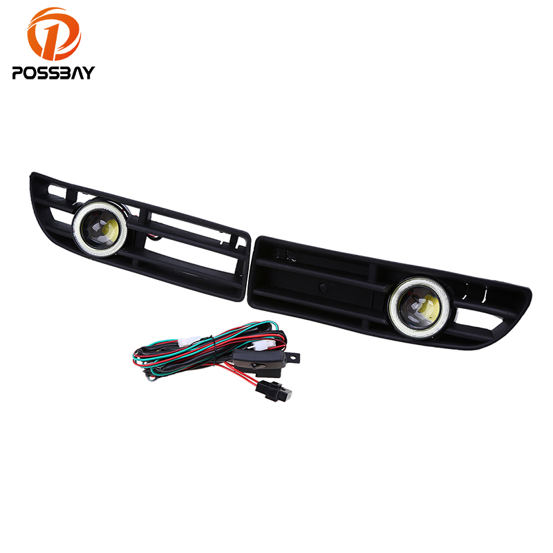 POSSBAY Angel Eyes Fog Light Fog Lamp Fit for VW BORA MK4/A4 Typ 1J LED Auto White Halo Ring Front Lower Grille Foglamps dwcx 1j5853665b 1j5853666c front lower grille bumper vent for volkswagen vw jetta bora mk4 1999 2000 2001 2002 2003 2004